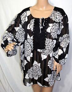 1ba18b9a3f0 Cato Women Plus Size 22/24 Chiffon Floral Black White Tunic Top ...