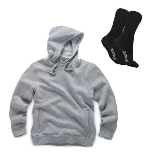 Scruffs Worker Hoodie Grey Men/'s Work Jumper /& 1 Pair of Boot Socks All Sizes
