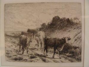 Antique-Signed-Peter-Moran-Landscape-Etching-W-Cows-MINT