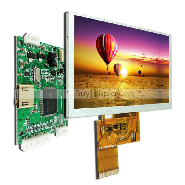 "Raspberry PI 5"" 800X480 TFT LCD Display with Small HDMI Driving/Controller Board"