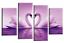 Love Coeur cygnes Wall Art Photo Gris Noir Blanc Kissing Toile Imprimé 112 cm
