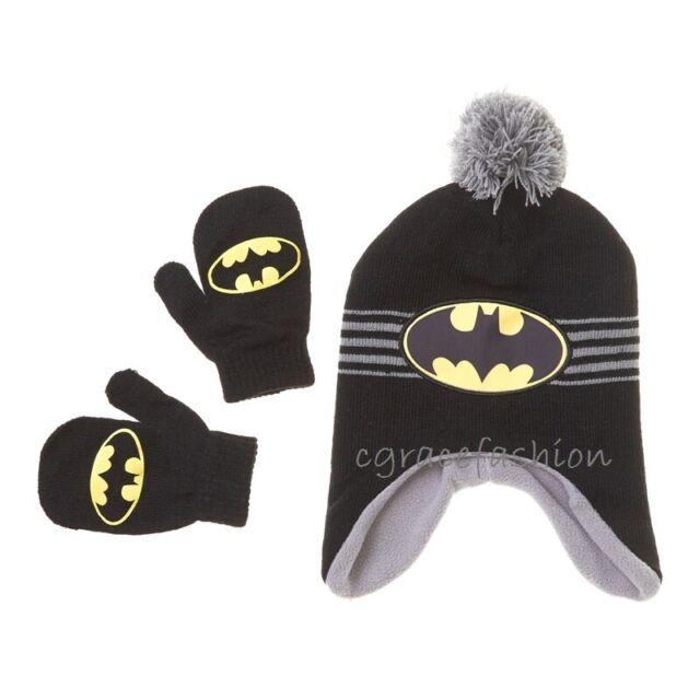 DC COMICS BATMAN TODDLERS BOY/'S WINTER BEANIE CAP /& MITTEN SET NWT