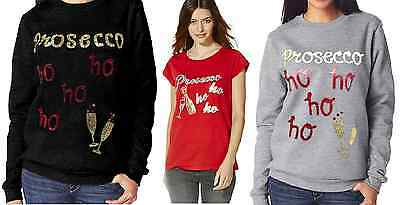 "Womens Christmas Jumper ""prosecco"" Novelty New Ladies Top Xmas Sweater & T Shirt"