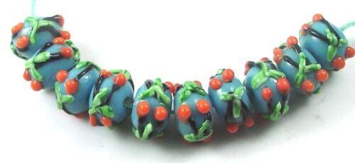 Lampwork Handmade Glass Bluish Cyan Cherry Blossom Rondelle Beads 10