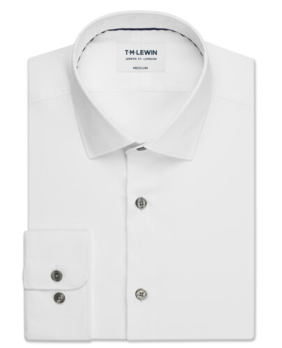 T.M.Lewin Mens Travel Collection Slim Fit White Button Cuff Shirt