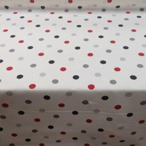 Multi Spot White Black Red 100/% cotton Curtain//Craft Fabric