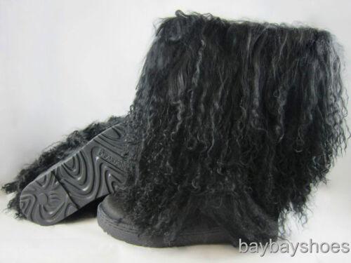 """BEARPAW BOETIS II 2 11/"""" BOOT BLACK CURLY LAMB FUR SHEEPSKIN US WOMENS SIZES"""