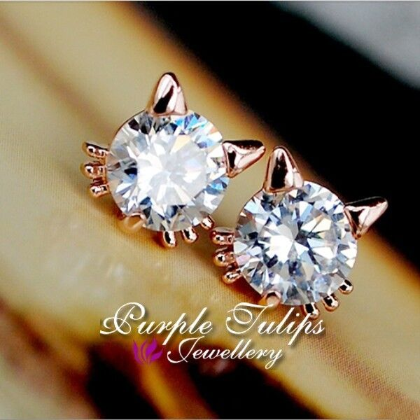 18K Rose Gold Plated Sparkling Cute Cat Stud Earrings MadeWith Swarovski Crystal