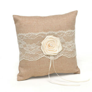 Bridal Burlap Wedding Ring Pillow