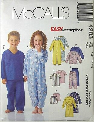 McCALL'S 4283 Uncut Pattern CF 4 5 6 Kids Pajamas Robe Shorts Top 2003 New