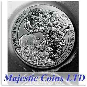 2012-Rwanda-Rhino-50-Francs-1-Oz-Coin-999-Silver-Map-of-Africa-Mint-Blister