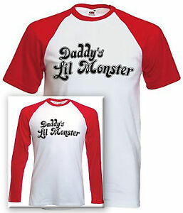 Daddy-039-s-Lil-Monster-Baseball-Style-T-shirt-Suicide-Squad-Harley-Quinn-Inspired