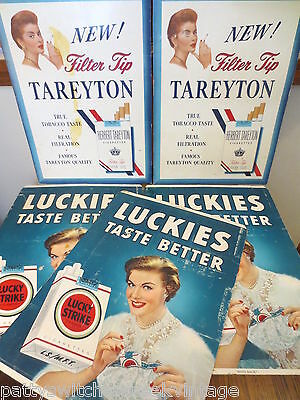 Mid-Century Retail Store Stand-Alone Cigarette Advertising-LUCKY STRIKE TAREYTON