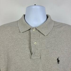 Polo-Ralph-Lauren-Beige-Long-Sleeve-Mens-Adult-Polo-Shirt-Size-Large-L