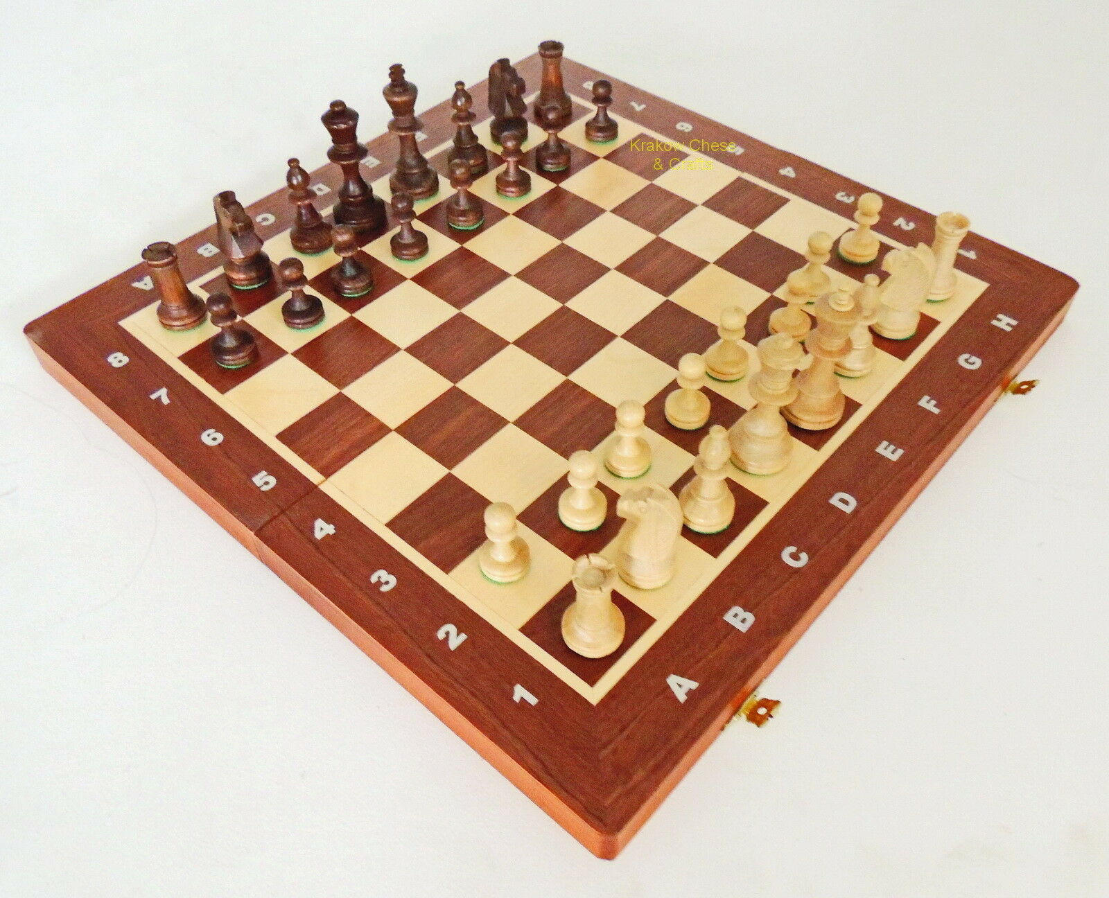 BRAND NEW WEGIEL TOURNAMENT NR 4 4 4 WOODEN CHESS SET 40cm WITH WEIGHTED PIECES 4391d2