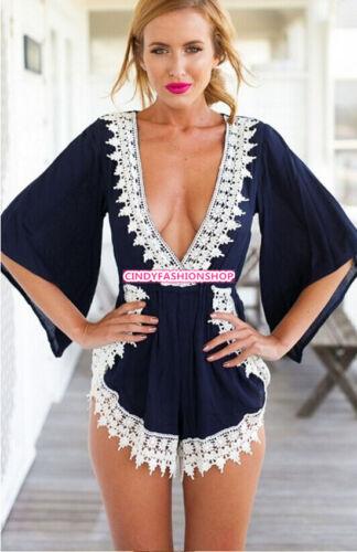 Women Ladies Clubwear V Neck Playsuit Bodycon Party Jumpsuit Romper Trousers Hot