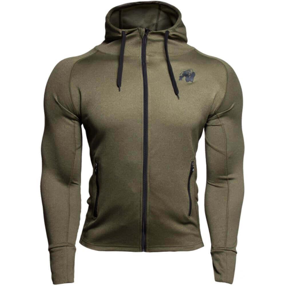 Gorilla Wear Bridgeport zipped hoodie – Army verde BODYBUILDING FITNESS
