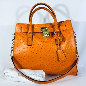 f3f8966e89b6 New MICHAEL KORS Hamilton Ostrich Leather Large Tote, Tangerine SRP ...