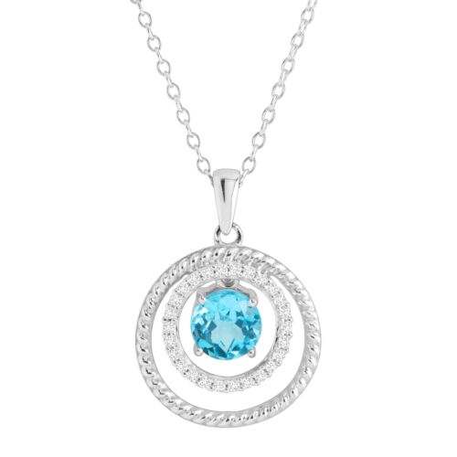 Natural White /& Blue Topaz Ringed Floater Pendant in Sterling Silver