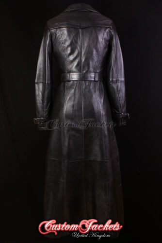 Ladies PARIS FULL-LENGTH Black TRENCH COAT Belted Real Leather Long Jacket Mac