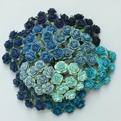 100 Mixed Mulberry Paper Rose Artificial Flower Blue Tone Color 15 mm/ 0.6 Inch