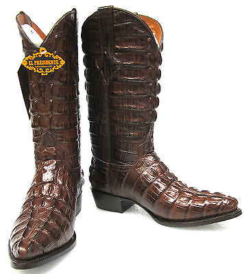 Men's Crocodile Alligator Tail Full Leather Cowboy Western Boots J Toe Brown