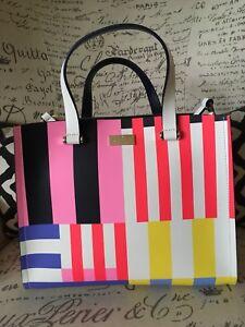 RARE-Large-Kate-Spade-Krya-Flagstripe-Arbour-Hill-Handbag-Tote-Purse-Mod-Bright