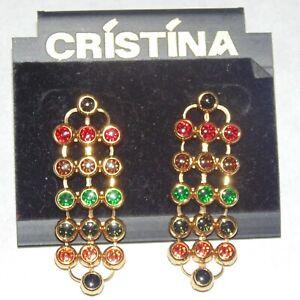 Vintage-signed-Cristina-multi-color-rhinestone-gold-tone-mesh-dangle-earrings