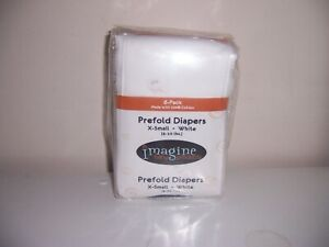 New-Prefold-White-orange-trim-imagine-cloth-diapers-6-in-package-x-small