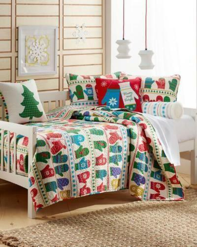 Mittens King Dimensione Bedding Quilt Multi-Coloree Winter Holiday Christmas Guest Room