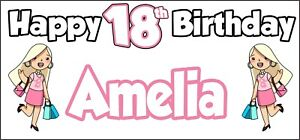 Glamour Girl 19th Birthday Banner x2 Personalised ANY NAME Party Decorations