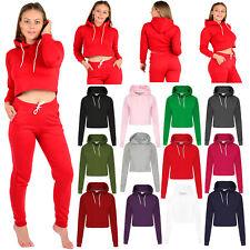 Womens Ladies Crop Top Hoodie Plain Pullover Sweatshirts Hoodies Jumpers XS-L