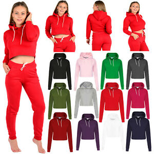 Femme-Femmes-Crop-Top-Sweat-A-Capuche-Uni-Pull-Sweatshirts-hoodies-pulls-XS-L
