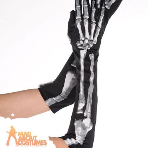 Adult Skeleton Gloves Black and Bone Long Halloween Horror Ladies Fancy Dress