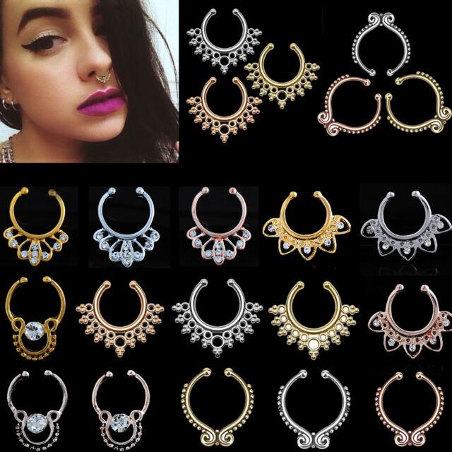 2Pcs Sexy Unique CZ Non-Piercing Septum Piercing Clicker Metal Nose Ring Jewelry