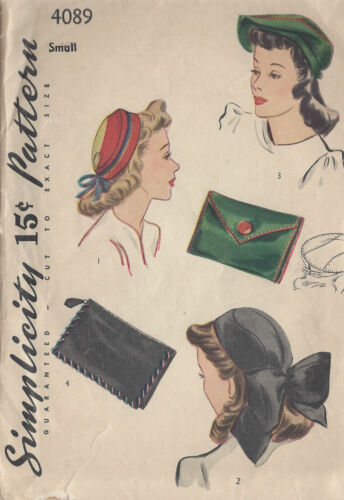 "1940s Vintage Sewing Pattern S21/"" Sombreros /& Bolsa 1028"