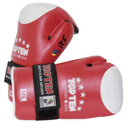 Top Ten Open Hand Superfight ITF Gloves Red Open Palm Pointfighter Taekwondo