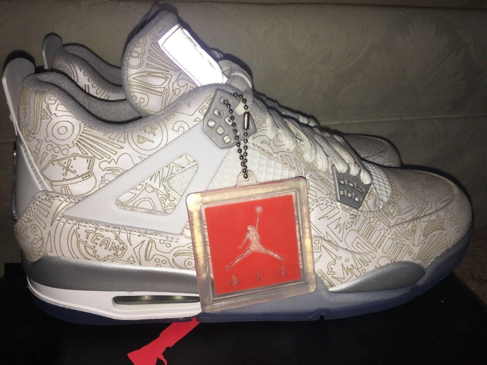 8ace01a241f4b4 New Men Nike Nike Nike Air Jordan 4 Retro Laser Size 10 White Chrome-Silver
