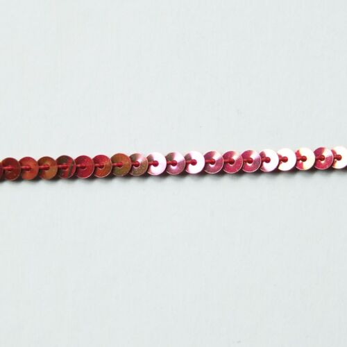 Sequin Stitched Trim 4mm ~ Red Rose Gold Iris Rainbow Iridescent Metallic