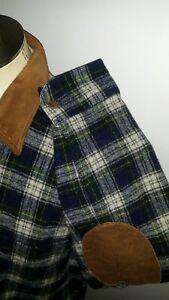 Vintage-Woolrich-Blackwatch-Tartan-Board-Elbow-Plaid-flannel-Wool-Shirt-L