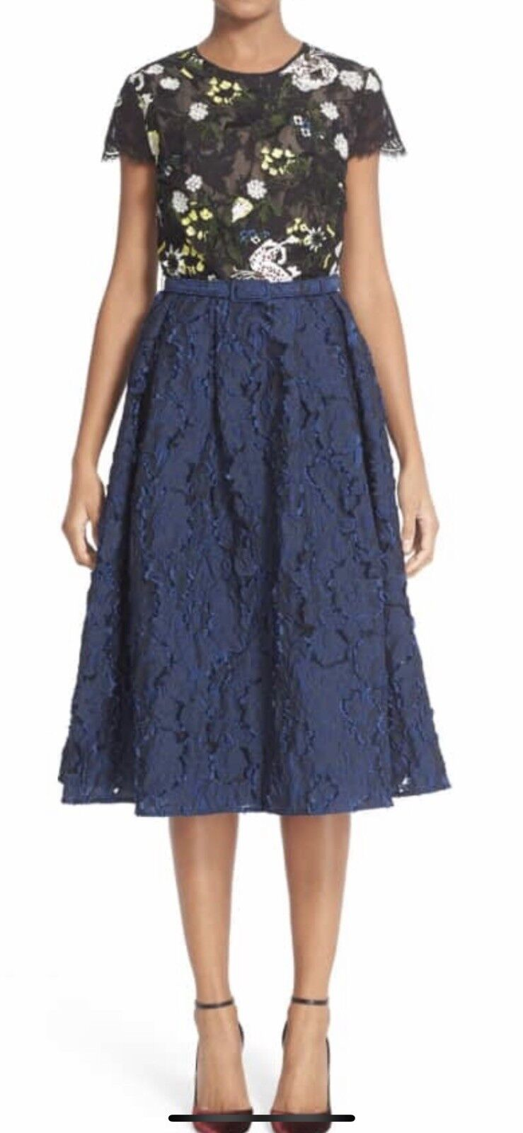 502cfb9f NWT Erdem 'Shirley' Floral Embroidered Lace Jacquard Dress US 12 IT 48