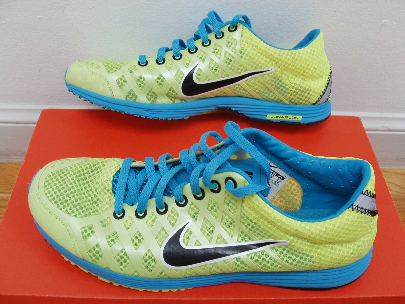 EUC Nike Lunarspider R2 running shoes mens 7=womens 8.5 neon yellow/blue Comfortable and good-looking