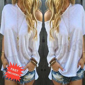 Women-Ladies-Summer-Short-Sleeve-Blouse-Shirt-Casual-Loose-Tops-T-Shirt-White