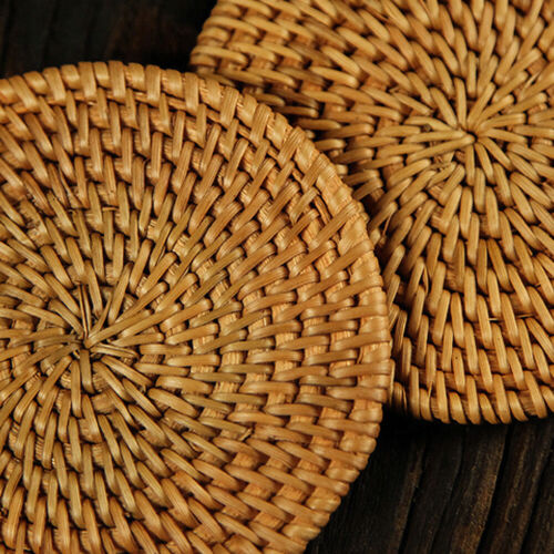 6Pcs//Set Vintage Rattan Coasters With Basket Handmade Woven Drink Mats Placemats