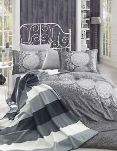 6 tlg bettw sche bettgarnitur bettbezug 100 baumwolle kissen 200x220 cm z mrt g ebay. Black Bedroom Furniture Sets. Home Design Ideas