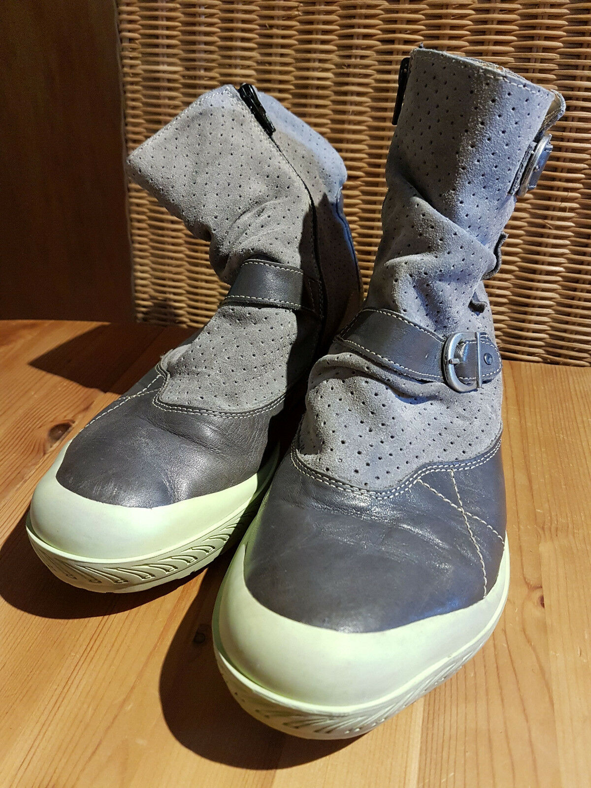 ❤ Eject Wave Stiefeletten Echtleder Boots Grau  ❤