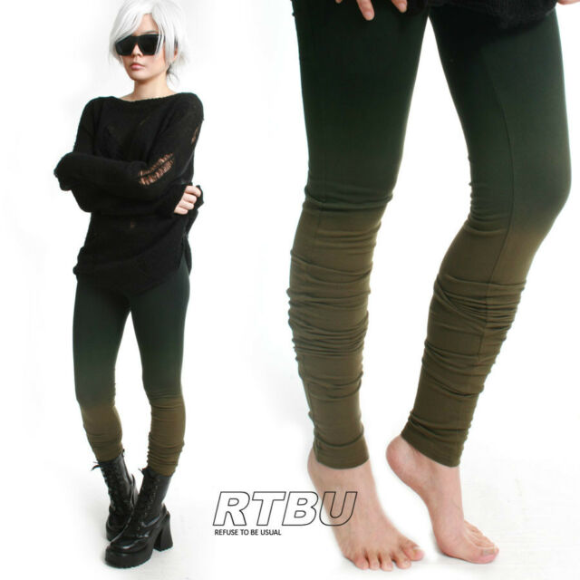 Mega Long Slouch Gathered Ruched Punk Dip Dye Green Ombre Cotton Legging