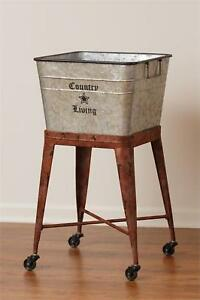 COUNTRY LIVING new large metal tub on wheels / nice storage/laundr<wbr/>y room