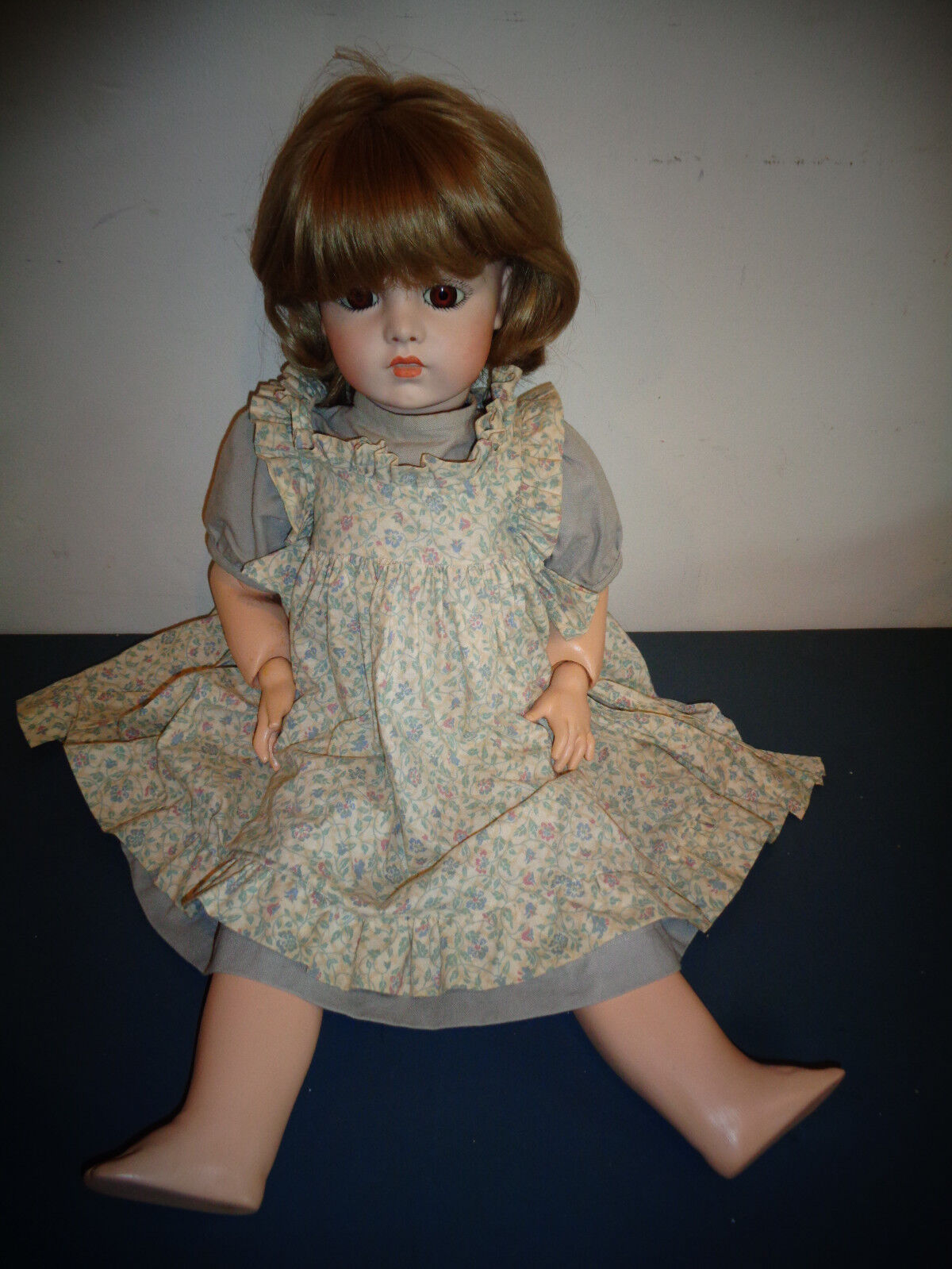 VINTAGE BRUJ NE 13 ALL PORCELAIN 24  DOLL W/PINAFORE & DRESS
