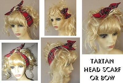 Red Tartan Head Wrap Rockabilly Headwrap Royal Stewart Tartan Hair Bow